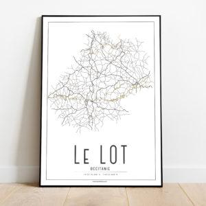 La carte routière du Lot et ses rivières