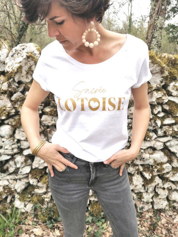 sacree lotoise tee-shirt blanc doré 100% lotoise